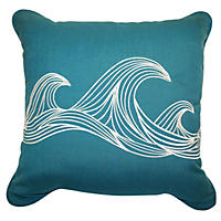 Peak Season Coastal Toss Pillow, Teal Wave