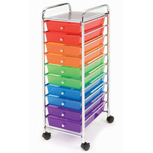 Seville Classics 10 Drawer Cart, Colored Drawers