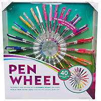Scribble Stuff Pen Wheel Reusable Pen Display - 40 Ct Gel Pens
