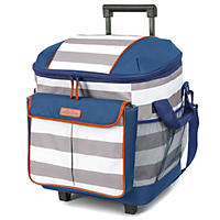(Free Shipping) Arctic Zone Insulated Rolling Tote, White/Blue