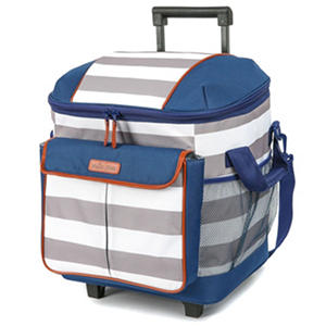 Arctic Zone Insulated Rolling Tote, White/Blue