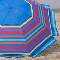 Nautica Beach Umbrella, Blue/Multi-Color Stripes