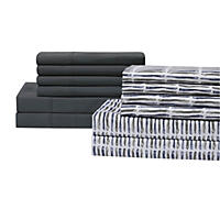 Queen - Brooklyn Loom 12 Pc Sheet Set, Dark Grey