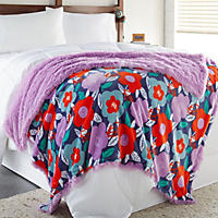 (Free Shipping) Shaggy Throw, Bold Floral