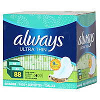 Always Ultra Thin Long Super Pads with Wings, 88 Ct.
