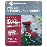 Member's Mark Oversized Zero-Gravity Lounger, Maroon
