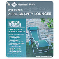 Member's Mark Oversized Zero-Gravity Lounger, Teal