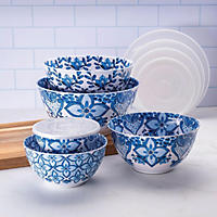 10PC Mixing Bowl Set  Blue and White