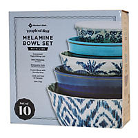 10Pc Mixing Bowl Set Wave 2  Tropical Ikat