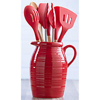 7-Piece Crock and Kitchen Tool Set, Red