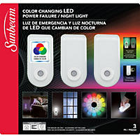 (Free Shipping) Sunbeam Color Changing LED Power Failure Night Light with LED Flashlight (3 pk.)