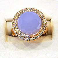 Dyed Blue Chalcedony Ring .55TW Diamond 14 Karat Pink Gold