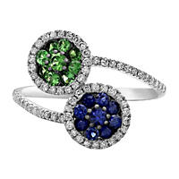 Treated Sapphire Tsavorite Ring .33TW Diamond in 14K White Gold