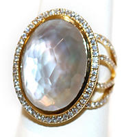 Doublet Mother Of Pearl Ring .57TW Diamond in 14K Yellow Gold