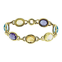 Treated Multi-Gem Cabachon Bracelet in 14K Gold