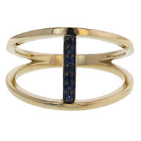 Geometric Blue Sapphire Ring in 14K Gold