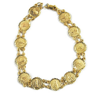 14k Yellow Gold All Saints Charm Medals Bracelet