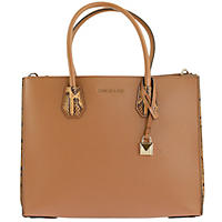 Mercer Large Pebbled and Embossed Leather Accordion Tote by Michael Kors Acorn
