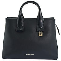 Rollins Large Pebbled Leather Satchel by Michael Kors Black