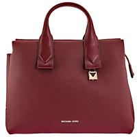 Rollins Large Pebbled Leather Satchel by Michael Kors Oxblood
