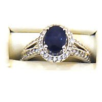 Treated Sapphire Ring .46TW Diamond in 14K White Gold
