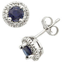 Blue Sapphire and Diamond Earrings in 14k Gold