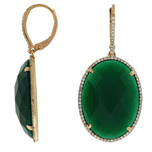 Green Agate 45 Ct Tw Diamond Earrings In 14k Rose Gold