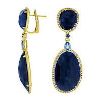 Heat Treated Sapphire Earrings .65TW Diamond in 14K Yellow Gold