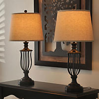 "Heatherly Cage 32"" Bronze Table Lamp, Set of 2"