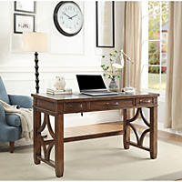 "(Free Shipping) Morgan Writing Desk with Utility Drawers, 54"" Wide, Walnut Finish"