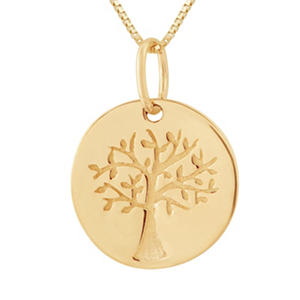 Family Tree Pendant in 14K Yellow Gold