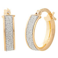 14K Yellow Gold Hollow Glitter Hoop Earrings