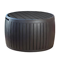 Keter Circa 37 Gallon Natural Wood Style Round Outdoor Storage Table Deck Box