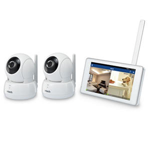 "VTech Remote Access Wireless Monitoring System with 2 Wi-Fi HD Pan & Tilt Cameras and 5"" LCD Monitor"