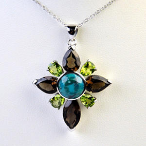 Turquoise, Peridot and Smokey Quartz Flower Pendant Necklace in Sterling Silver