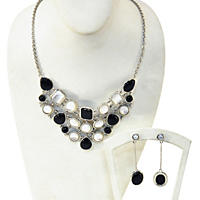 Chalcedony and Mother of Pearl 2 Piece Set in Sterling Silver