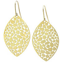 14K Yellow Gold Textured Marquis Drop Earrings