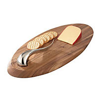 Nambe Swoop Cheese Board with Knife