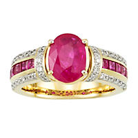 Oval and Square 1.98 CT. T.W. Ruby with Diamond Ring in 14K Yellow Gold