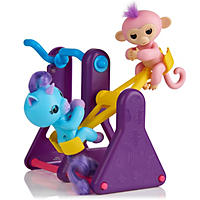 "WowWee Fingerlings Playset - See-Saw with 2 Fingerlings Baby Monkey Toys, ""Callie"" (Blue) and ""Coral"" (Purple)"
