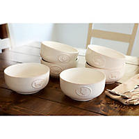 6 pack - Farmhouse Stoneware Bowls with Antique Finish, Cream
