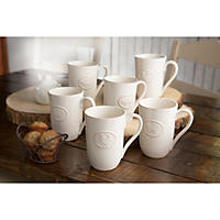 6 Pack Farmhouse Stoneware Mugs with Antique Finish, Cream