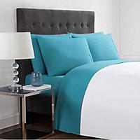 California King - Christian Siriano 12 Piece Sheet Set, Teal with Brush Strokes