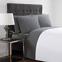 Queen - Christian Siriano 12-Piece Sheet Set, Solid Charcoal/Zebra