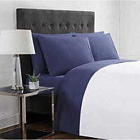 Queen - Christian Siriano 12-Piece Sheet Set, Gray Medallion/Navy Solid