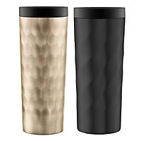 Ello Hammertime Stainless-Steel Travel Mugs, Gold & Matte Black