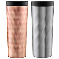 Ello Hammertime Stainless-Steel Travel Mugs, Rosegold & Nickel