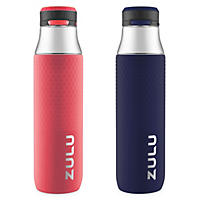 Zulu 32 oz. Studio Chug Tritan Water Bottles, 2 Pack (Coral/Galaxy Navy)
