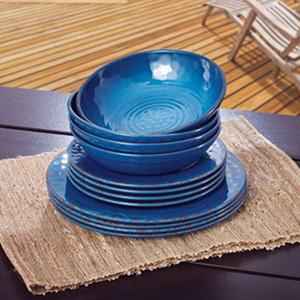 Melamine Dinnerware 12PC Set, Blue | SamsClub.com Auctions