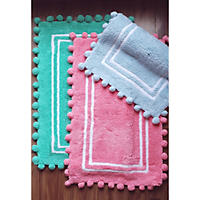 100% Cotton Kids Pom Pom Mat, Mint